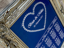 A3 sparkle heart wedding/table seating plan,any col.with diamante embellishment