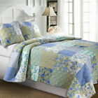 OVERSIZE VINTAGE NAUTICAL AQUA OCEAN BLUE WHITE YELLOW QUILT SET KING SIZE NEW!!