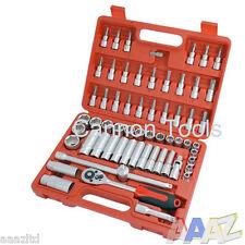 "61Pc 3/8"" Drive Socket Set Deep & Shallow Ratchet Extension Garage Workshop Tool"