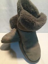 UGG Bailey Button Boot Gray Suede Sheepskin Boot Cuff Worn Up or Fold Over SZ 7