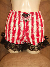 CuteHAND-MADE,red/white stripe,anchor print bloomer with black lace,bows & heart