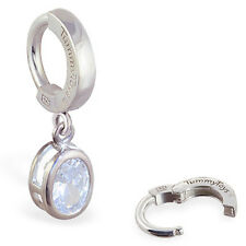 TummyToys Silver Oval CZ Dangle Silver Belly Button Ring Navel High Quality