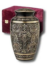Adult Black and Gold Brass Cremation Urn w. Velvet Box