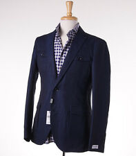 NWT $900 BARNEYS NEW YORK Blue Four Pocket Linen-Cotton Blazer 36 R Slim-Fit