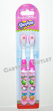 SHOPKINS TOOTHBRUSHES 2 PACK NIP GIRLS BATHROOM TRAVEL STOCKING STUFFER GIFT !!!