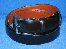 "44"" Cole Haan Black Leather Mens Belt Silver Brass Buckle Dress Casual EUC Man"