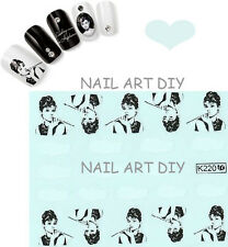 20 stickers DECALS NAIL ART water transfer-unghie adesivi TATTOO Audrey Hepburn!