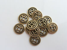 20 x 10mm Tibetan Style Flat Round Coin Spacer Beads Antique Gold      (MBX0073)