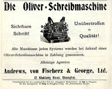Andrews, von Fisherz & George Ltd. 12 Kiukiang Road Shanghai OLIVER Ad 1908