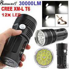 30000LM 12x CREE XM-L T6 LED Flashlight 5 Mode 18650 Super Bright Hunting Torch