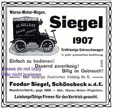 Sceau automobiles schönebeck publicité 1907 camionnette publicité wagenbau +