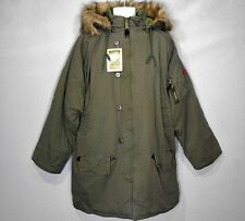 XL Vintage Olive Drab N-3B Military Cotton Parka w/Removable Hood & Fur Collar