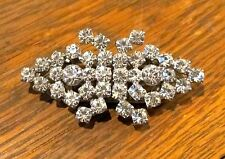 VTG ART DECO DUETTE RHINESTONE DRESS CLIPS PIN/BROOCH - SIGNED STERLING
