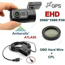 EYOYO 0806 Ambarella A7LA50 HD 1296P Car Dash Cam/GPS W/Extra CPL+OBD Hard Wire