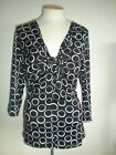 MICHAEL MICHAEL KORS MS LARGE BLACK AND WHITE CIRCLE GEO PRINT TWIST FRONT TOP
