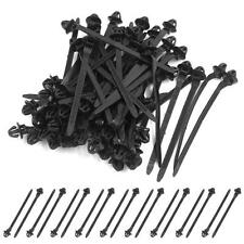 50 Pcs Black 11mm Hole Cable Car Trailer Zip Ties Wrap Push Rivets Clips Wiring