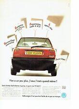 PUBLICITE ADVERTISING 126  1993  Volkswagen  la golf Atlanta vw