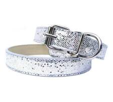 New Silver Luxury Sparkling Glitters Dog Collar PU Leather Bling Cat Pet Small