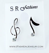 Music Note Stud Earrings Rock Punk Silver Tone Treble Clef Fashion Jewerly Gift
