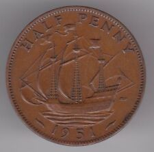 United Kingdom 1/2d Half-Penny 1951 Bronze Coin - Golden Hind