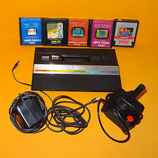 VINTAGE 1986 ATARI 2600 PAL VIDEO GAME SYSTEM CONSOLE + 5 GAMES LOT BUNDLE