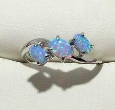 Beautiful 3 Stone Blue Fire Opal Solid 925 Sterling Silver Ring Sz 7