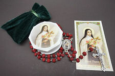 NEW! Saint Therese of Lisieux Rose Scented Rosary.Rosario de Santa Teresa Rosas