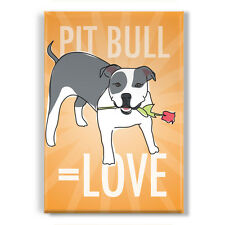Pit Bull Equals Love - Gray Blue and White Pit Bull Gifts Refrigerator Magnets