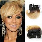 4piece 50g Short Wavy Weft 1B Blonde Ombre Real Human Hair Extensions 8inch