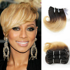 4piece 50g Short Wavy Weave 1B Blonde Ombre Real Human Hair Extensions 8inch