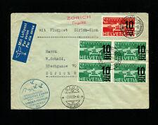 Switzerland 1937 Airmail cover with RARE Zum F20b block of 4