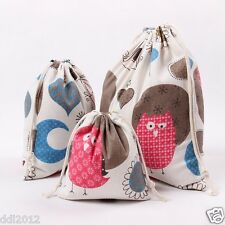 Fashion Women Grils Drawstring Bags Owl Printing Beam Port Storage Travel Bag S