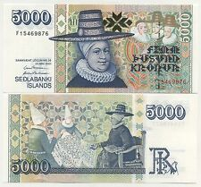 Iceland 5000 Kronur 2001 Pick 60 UNC Uncirculated Banknote
