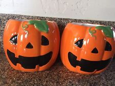 BATH AND BODY WORKS HALLOWEEN JACK O LANTERN  PUMPKIN HAND SOAP HOLDER SET OF 2