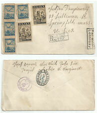 POLAND 1946 REGISTERED AIRMAIL MIXED FRANKING FROM ŁYSE TO SPRINGFIELD USA