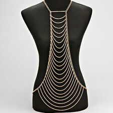 Statement Gold Multi layered Drape Necklace Body Chain By Rocks Boutique