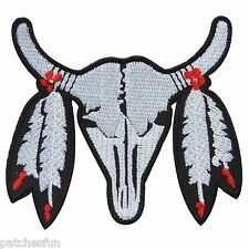 Cow Bison Bull Buffalo Skull Cowboy Indian Western Biker Iron on Patches #1521