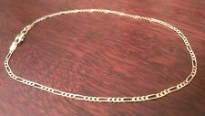 """14K SOLID YELLOW GOLD FIGARO LINK CHAIN BRACELET / ANKLET  9""""  2mm  1.7 grams"""