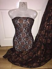 """10 mètres marron/noir floral bridal lycra extensible tissu en dentelle... 60"""" large £ 59.99"""