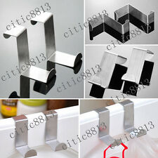 2pcs Stainless Steel Kitchen Cabinet Over The Door Hook Clothes Hanger Holder CI