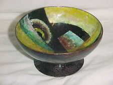 AUSTRIAN MODERN ART DECO ENAMEL COPPER BOWL ABSTRACT WIENER WERKSTATTE DELAUNAY