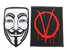 2pc V for Vendetta Mask Anonymous Fawkes Embroidered Patch Iron on Applique
