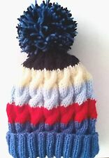 Baby Boys Hand Knitted Bobble Hat 1-2 years Cable Pattern & Stripes