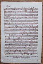 1922 BEETHOVENS HANDSCHRIFT TRIO KLAVIER FLÖTE FAGOTT Musik alter Druck print