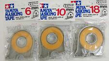 Tamiya Masking Tape 6mm - 10mm - 18mm WITH DISPENSERS 3 Rolls 87030-87031-87032