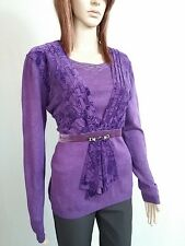 Womens Wool Cashmere Purple Velvet Jewel Embellish Thin Knit Blouse sz L/XL AO48