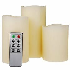 NEW SET OF 3 VANILLA SCENTED WAX MOOD LED FLAMELESS CANDLES WITH REMOTE CONTROL