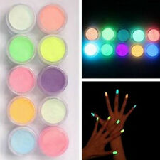 10 Pcs Noctilucent Nail Glitter Powder Art DIY Fluorescent Acrylic Powder Superb