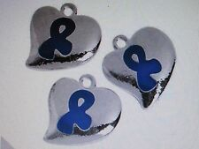 12 Silvertone HEART BLUE AWARENESS Ribbon CHARMS cancer child abuse FREE SHIP