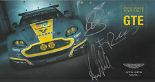 MacDowall, Rees, Stanaway Aston Martin Vantage Hand Signed Promo Card Le Mans.